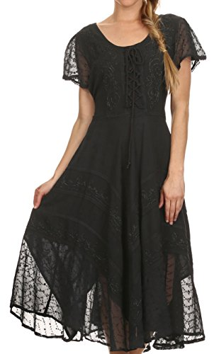 Sakkas 1322 - Sakkas Marigold Embroidered Fairy Dress - Black - S/M (Green Fairy Dress)