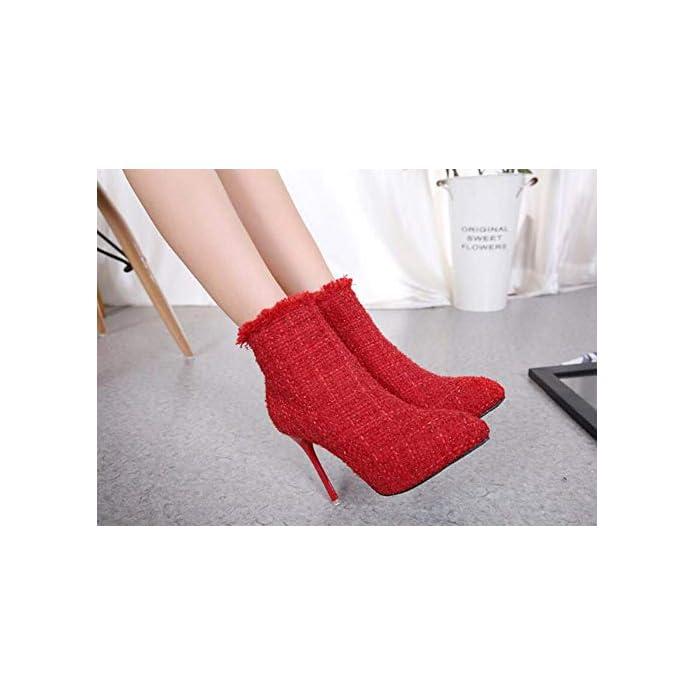 Mamrar Donne Caviglia Stivaletto Punta 11cm Stiletto Vestito Stivali Scarpe Da Sposa Burr Bling Corte Eu Dimensioni 34-40