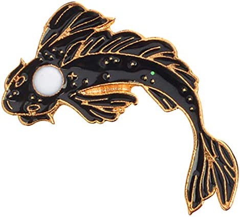 Xz1323 ACAMPTAR 2Pcs Broche Poisson Yin-Yang Broches /épingle /émail Noir Blanc Rose Broches Badges de Carpe Koi Japonais Bijoux de Poisson Costume Broche Mignonne Xz1321