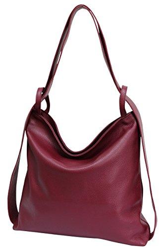 hombro de en cuero Bolsos bolsos 1 mochila para mano bolsos 2 de con Burdeos de mujer GL019 AmbraModa Z8w5qHq
