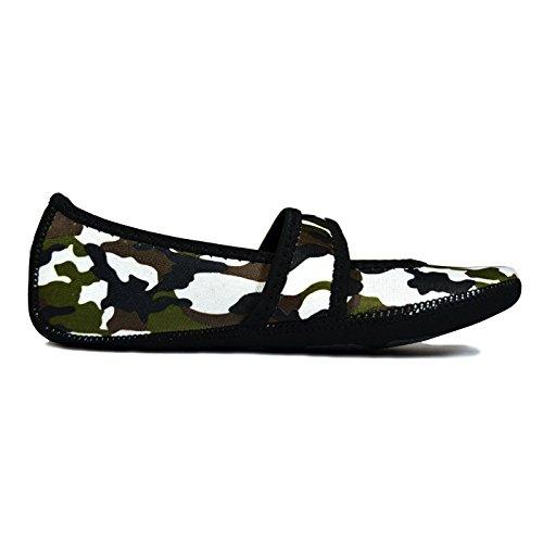 Nufoot Flats Slipper Best Exercise Socks Shoes Medium Dance Yoga Women's Lou Slippers Green Travel amp; House Betsy Camouflage Flexible Foldable Black Slippers Indoor rScyrqfW