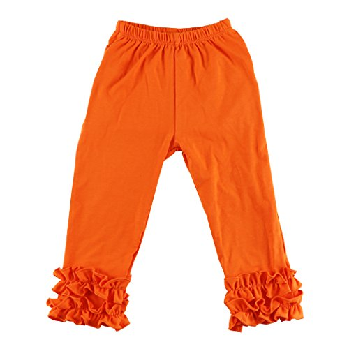Wennikids Toddler Litle Girls Cotton Ruffle Leggings Medium Orange