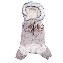 Oshide Pets Dog Fashion Elegant Hoodie Jacket Coat with Woolen Edge Hat Puppy Dogs Cats Winter Cotton Clothes, Khaki
