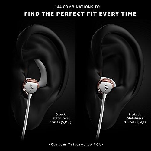 Zipbuds 26 Bluetooth Wireless Custom Fit In-Ear Headphones: HD Stereo Sound Waterproof Sweatproof 15-Hour Supercharged Battery (White & Rose Gold)