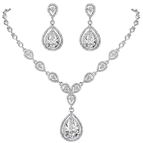 EVER FAITH Austrian Crystal Zircon Wedding Teardrop Necklace Earrings Set Clear - Jewelry Set Crystal Teardrop
