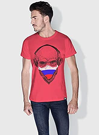 Creo Russia Skull T-Shirts For Men - L, Pink