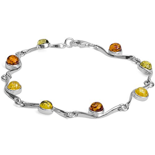 (Sterling Silver Multicolor Amber Bracelet 7 Inches)