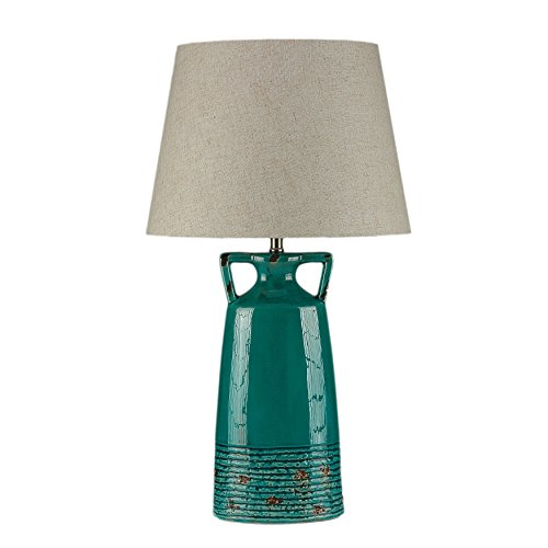 Teal Glazed - Cortesi Home CH-TL303664 Antique Teal Glazed Ceramic Nantucket Table Lamp, 29-Inch, Blue