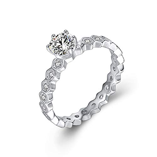 Long Way Engagement Rings for Women 925 Sterling Silver 0.5 Ct Round White AAA Cz Wedding Ring