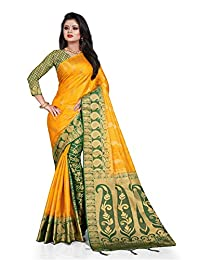Mohit Creations Latest Banarasi Silk South Indian Saree with Golden Dual Border