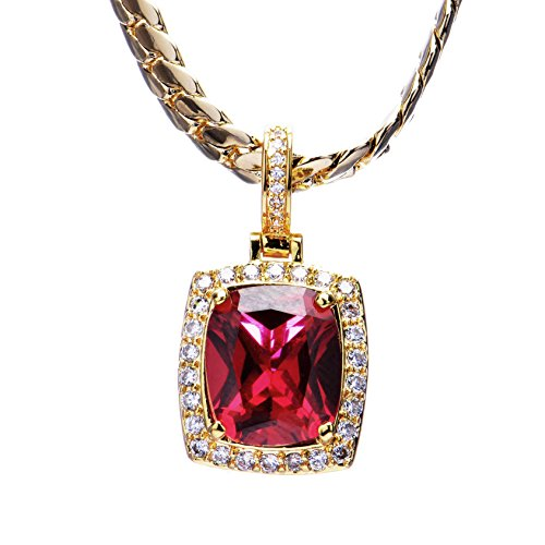 Mens-Hip-Hop-Luxury-Iced-Out-14kt-Gold-Plated-Mini-Ruby-Square-Pendant-Miami-Cuban-Chain-Set-MBP-572-RD