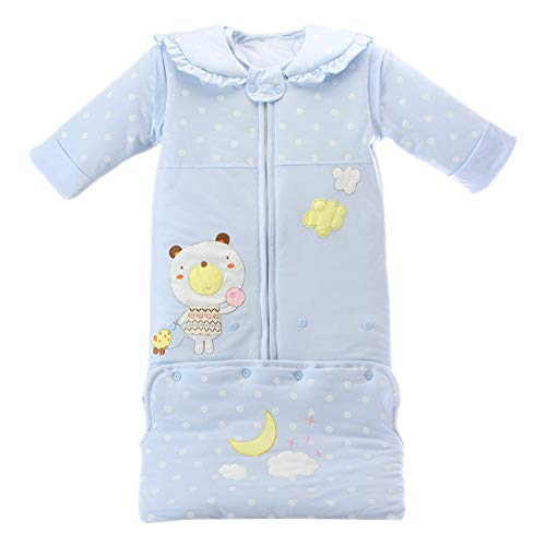 KINDOYO Baby Wearable Sleeping Bag - Polka Dot Printing Soft Warm Sleep Sack Blue