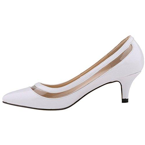 EKS - Zapatos de tacón fino Mujer Blanco - Weiß-Lackleder