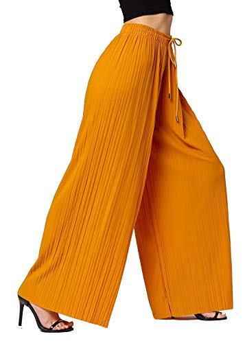(Conceited Women's High Waisted Wide Leg Pleated Palazzo Pants - Solid Mustard - One Size -)