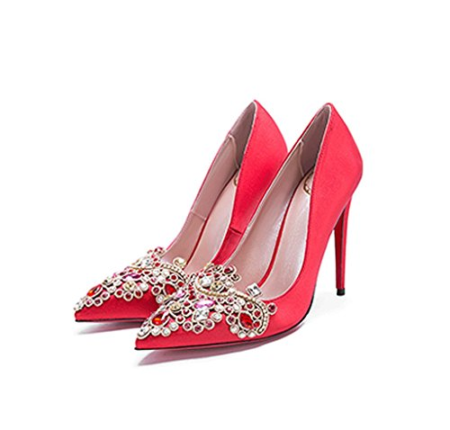 Chinese Style New Satin Red High Heels Fine With Wedding Shoes Pointed Shallow Silk Bridal Shoes (Color : Red 6cm, Size : 36)