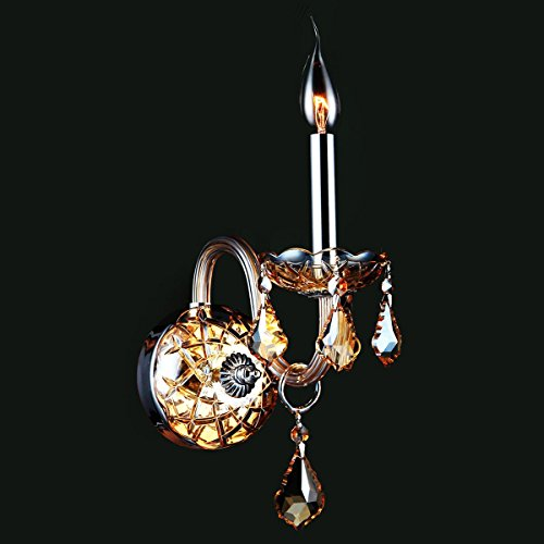 Brilliance Lighting and Chandeliers Venetian Italian Style 1-light Chrome Finish and Amber Crystal Candle 4-inch Wide Small Wall Sconce - Crystal Chandelier Wall Sconces