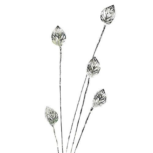 Blütenzweig Blatt, Dekozweig, biegbar, silber Blütenzweig Blatt art decor