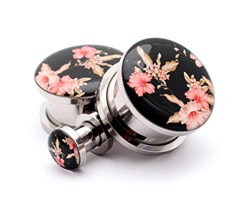 Mystic Metals Body Jewelry Screw on Plugs - Vintage Floral Style 5 Picture Plugs - Sold As a Pair (1