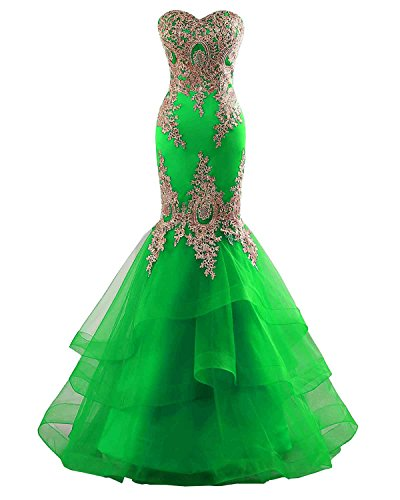 Yinyyinhs Women for Mermaid Backless Green Embroidery Light Formal Dress with Dresses Evening Long Prom fIFfwWq1r