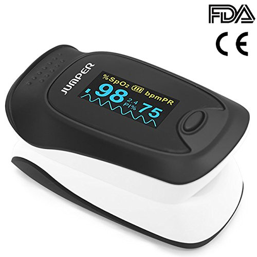 Jumper 500D Fingertip Pulse Oximeter Blood Oxygen Saturation Sensor Instant Read Pulse Rate Monitor with Perfusion Index Alarm Function 2 Batteries Lanyard Pouch (Black)