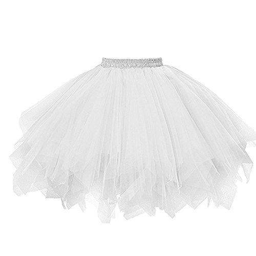 Sfit Femme Jupe Courte Ballet Tutu en Tulle Blanc