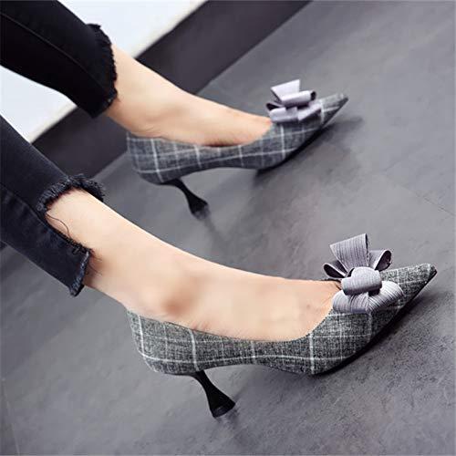 Tacones y señaló Gato Partido otoño señoras Aguja Banquete Dulce YMFIE Boca Primavera Arco tacón Baja Moda de Cuadros con Altos Europea de Zapatos B Zapatos Solo a de ZBSBnx4IW