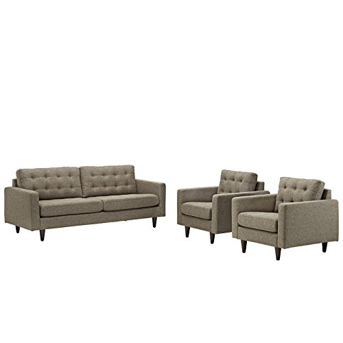 Modway EEI-1314-OAT Empress Mid-Century Modern Upholstered Fabric Sofa and Two Armchair Set Oatmeal
