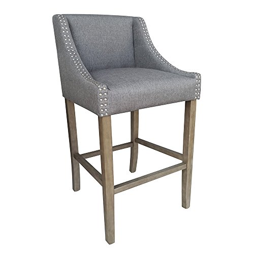 Vandue Modern Home Parkland Contemporary Wood Barstools with Gray Linen, Set of 4, 22 Wide 41 Tall Padded Seat Cushion and Tall Backrest with Decorative Button Armrests, Four-Legged Wooden Frame