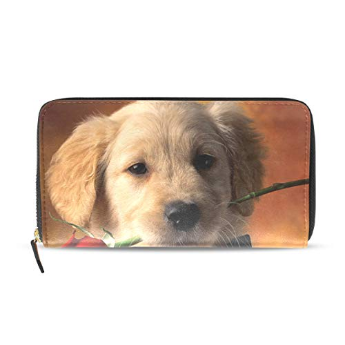 n Retriever Puppies And Rose Leather Passport Wallet Coin Purse Girls Handbags ()