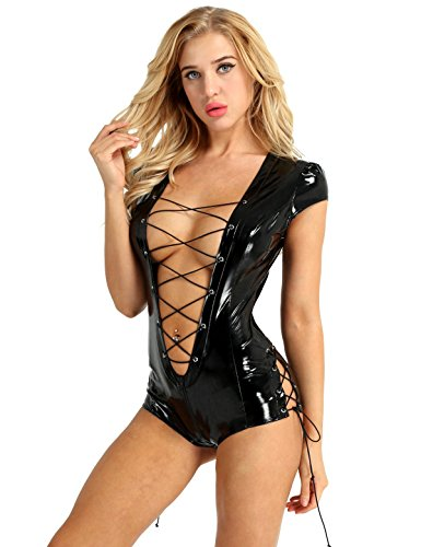 FEESHOW Sexy Women Wet Look PVC Leather Leotard Bodysuit Lace Up Catsuit Costume Black Small ()