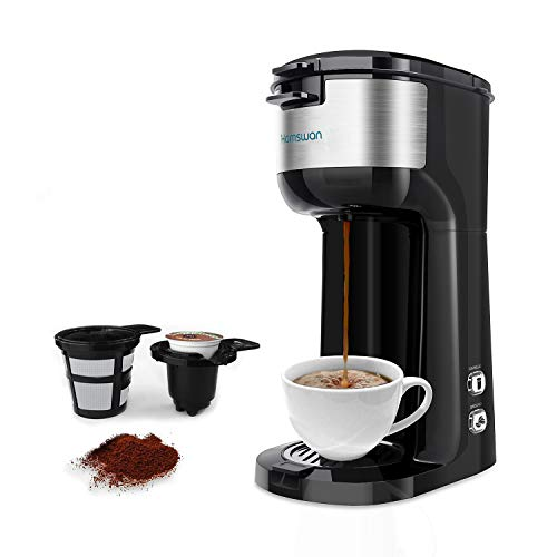 Single Serve Coffee Maker, HAMSWAN Single K Cup Coffee Machine One Cup Coffee Maker Brewer, Compact Design Thermal Drip Instant Coffee Machine with Self Cleaning Function, Brew Strength Control