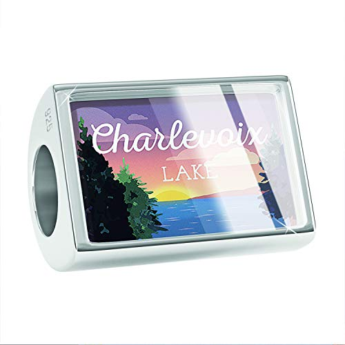 NEONBLOND Charm Lake Retro Design Lake Charlevoix 925 Sterling Silver Bead