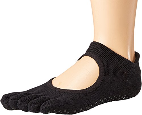 toesox Womens Grip Full Toe Bellarina Black XS (Men's Shoe 3-4.5, Women's Shoe 3-3.5) One Size