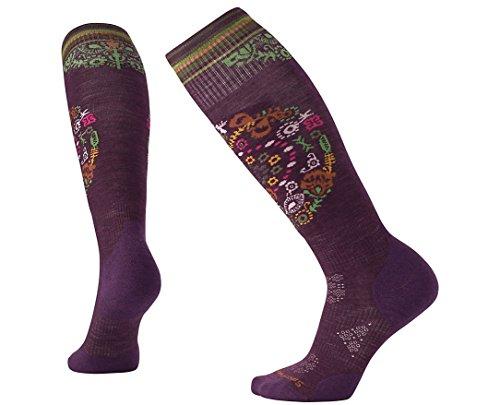SmartWool Women's PhD Ski Light Elite Pattern Socks (Bordeaux) Medium (Phd Smartwool Ski Womens)