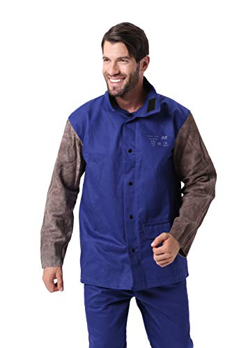 - Holulo Welding Jacket with Leather Sleeve for Splash Proof Split Cow Leather Safety Apparel with CE Certiifcation,Blue Flame-Resistant,Heat Resistant Welding Suit