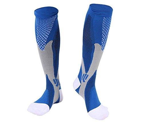 Graduated Compression Socks for Women& Men, Running, Nurses, Travel, Shin Splints, Pregnancy, Edema, Swollen Ankles, Varicose, Airplane, 20-30 mmHg 1 Pair (X/XL, Blue)