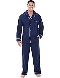 Mens Cotton Solid Pajamas, Long Woven Pj Set