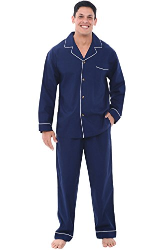 Alexander Del Rossa Men's Pajama Set - Woven Cotton PJs, Long Pants & Sleeves, 3XL Navy Blue (A0714MBL3X)