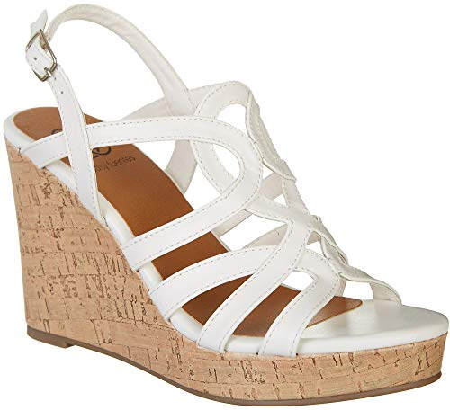 Daisy Fuentes Womens Sussie Wedge Sandals 7 White for sale  Delivered anywhere in USA
