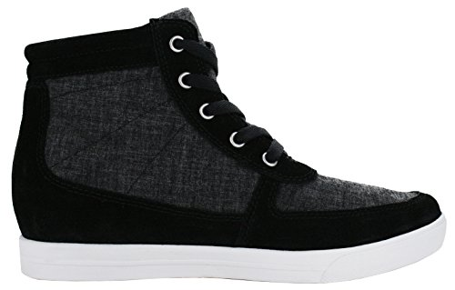 Burnetie Mujeres's Amanda Lace-up High Top Hidden Wedge Sneaker Black