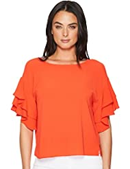 Vince Camuto Womens Drop Shoulder Tiered Sleeve Textured Blouse