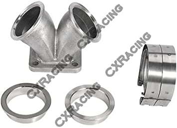 Dual 2.5 V-band Flange to T4 Twin Scroll Divided Inlet Turbo Elbow SS Adapter