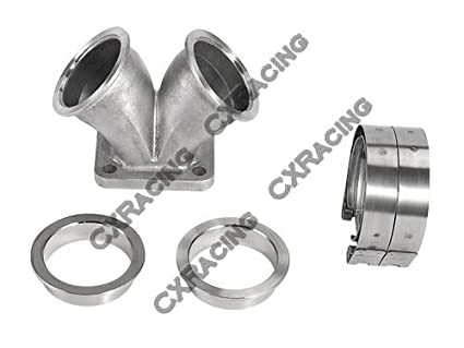 """CXRacing 2.5"""" Vband Dual Inlet to Divided T4 Turbo Elbow Adapter Flange + Clamps"""