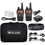 Midland - X-TALKER T77VP5, 36 Channel FRS Two-Way Radio - Up to 38 Mile Range Walkie Talkie, 121 Privacy Codes, and NOAA Weather Scan + Alert (Includes a Carrying Case and Headsets) (Black/Silver)