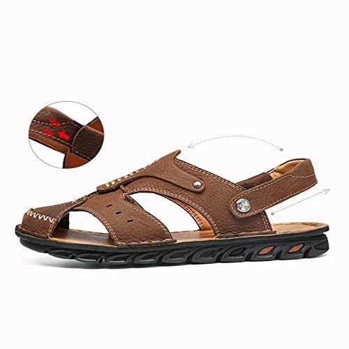 al traspiranti Brown per per il da Sandali in regolabili e uomo antiscivolo Color tempo la adatti spiaggia sandali Size 40 all'aperto libero EU Brown pelle sandali coperto pqpXTzBO