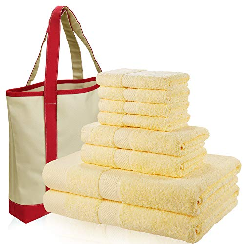 SEMAXE 700 GSM Bath Towels, 8-Piece Towel Set 100% Made of Cotton Super Absorbent Fade-Resistant (Yellow with Canvas Bag)
