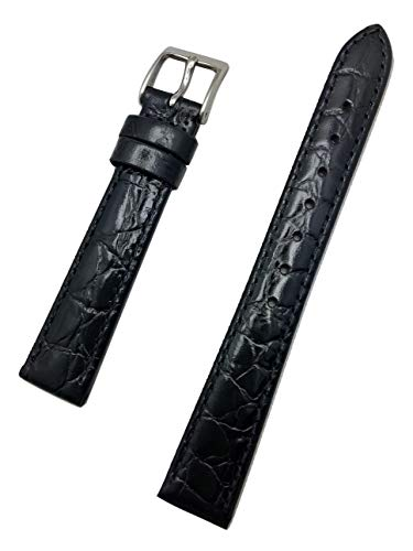 (14mm Black Genuine Leather Watch Band | Round Alligator Crocodile Grained, Lightly Padded, Replacement Wrist Strap That Brings New Life to Any Watch (Womens Standard Length))