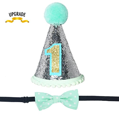 Maticr Sparkly Princess 1st Birthday Cone Hat Adjustable Headband Set for Baby Girl, Pink Bow Cake Smash Party Supplies (Mint - Cone Birthday 1st Hat Boy