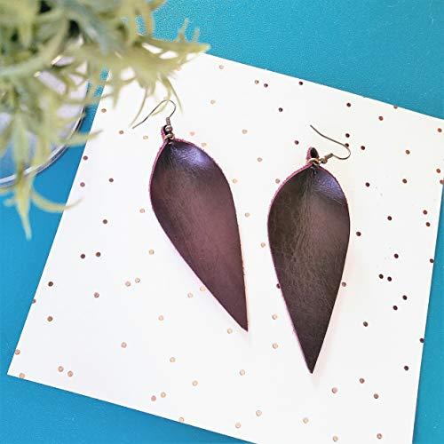 Merlot Blackberry - Handmade Leather Leaf Earrings/Blackberry/Genuine Leather/Statement Earrings/Wine Earrings/Burgundy Earrings/Feather/Joanna Gaines Style/Long / 3.5