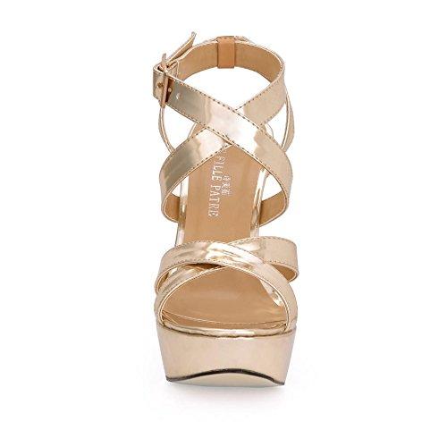 Best 4U® Sandali con tacco alto da donna Gomma a spillo suola Premium PU Round Toe 12CM Scarpe primavera estate tacco dorato